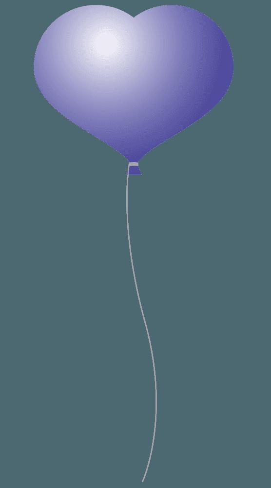 紫の可愛いハート風船イラスト