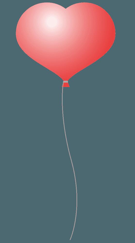 オレンジカラーのハート風船イラスト