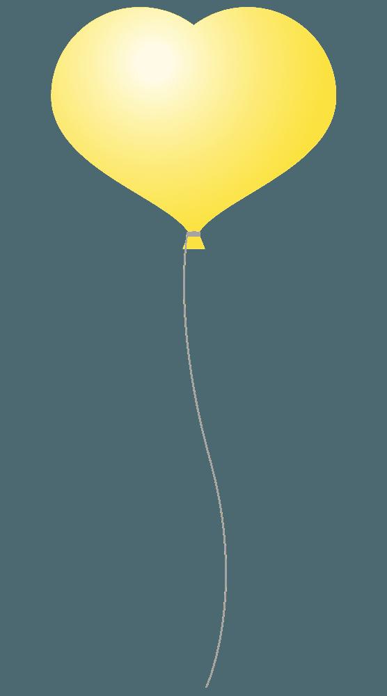 ハート型の黄色い風船イラスト