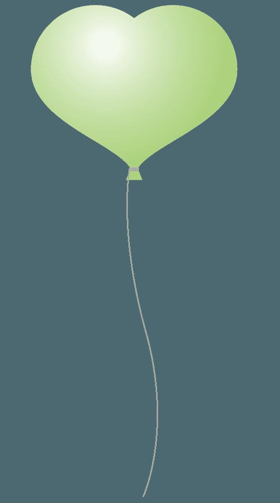 ハート型の黄緑色の風船イラスト