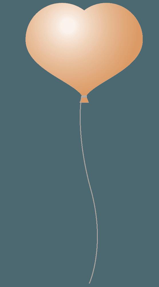 茶色のハート風船イラスト