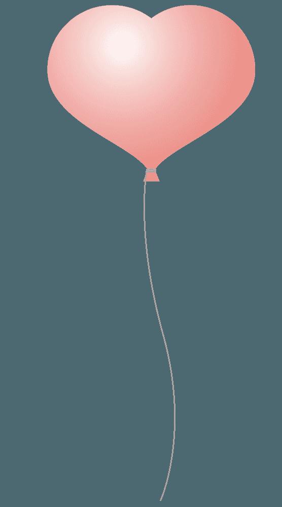 ピンクのハート型風船イラスト