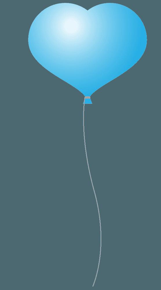 水色のハート風船イラスト