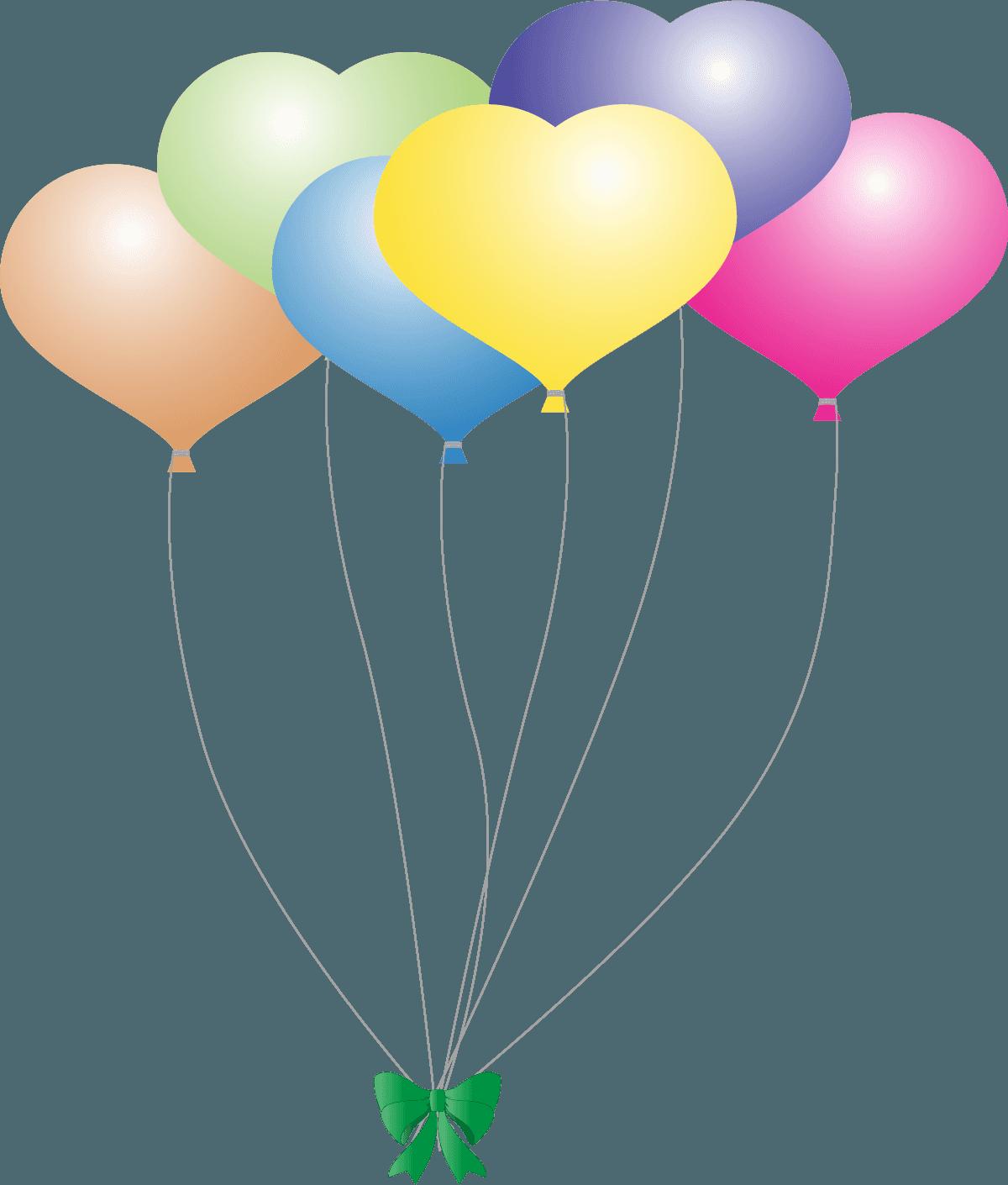 可愛いハート型の風船の束イラスト