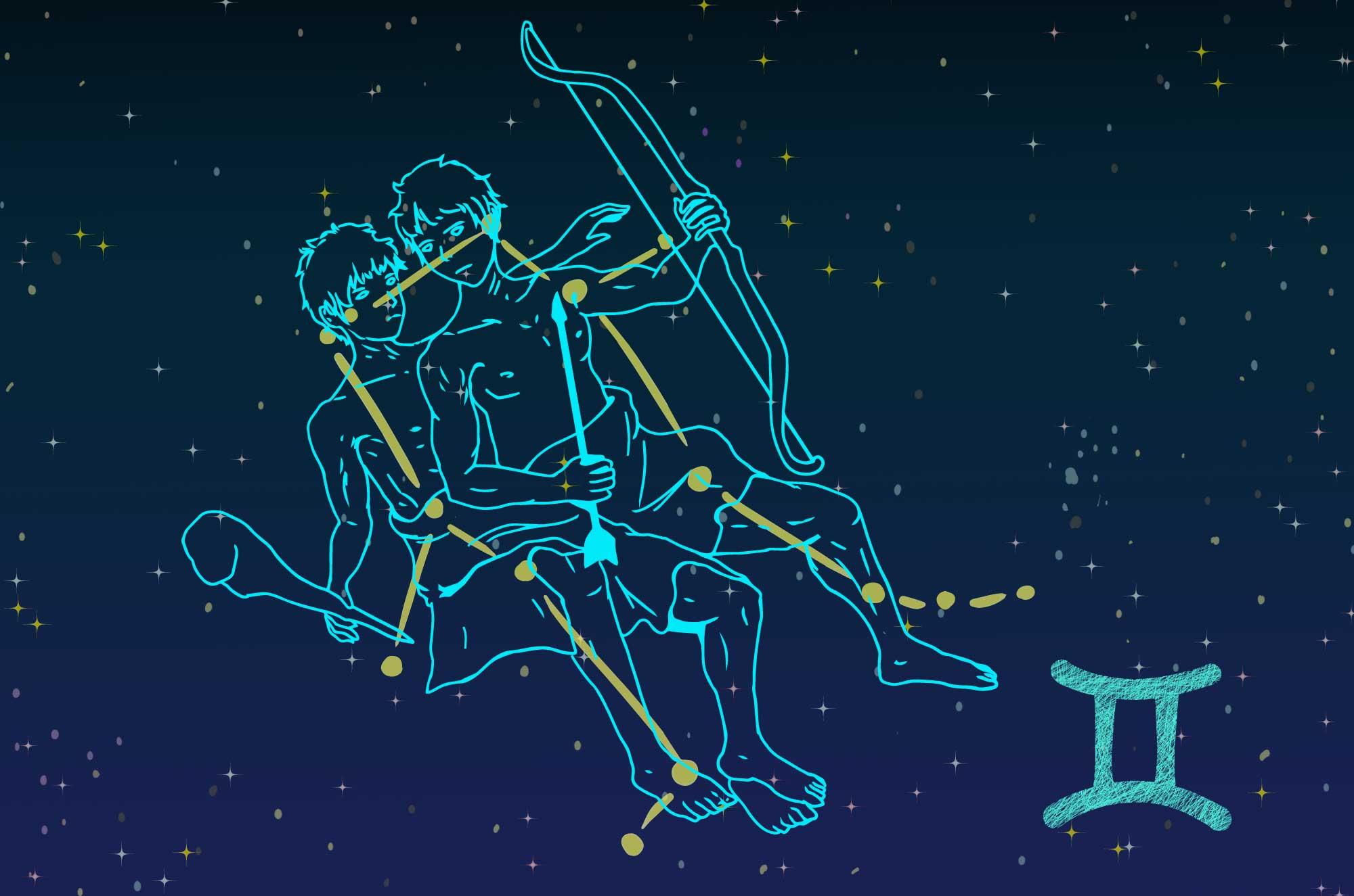 双子座のイラスト - ジェミニ夜空の星の無料素材