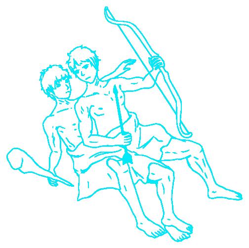 双子座の線画イラスト
