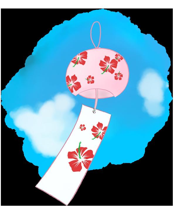 青空と可愛い風鈴のイラスト
