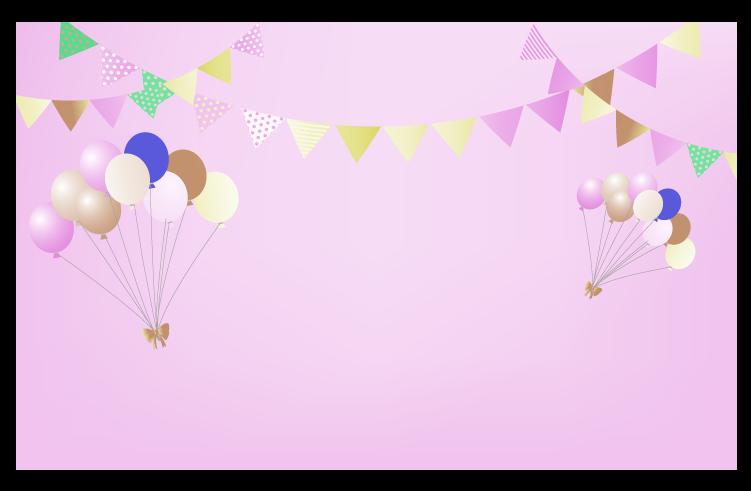 ピンク風船と旗と空の背景のイラスト