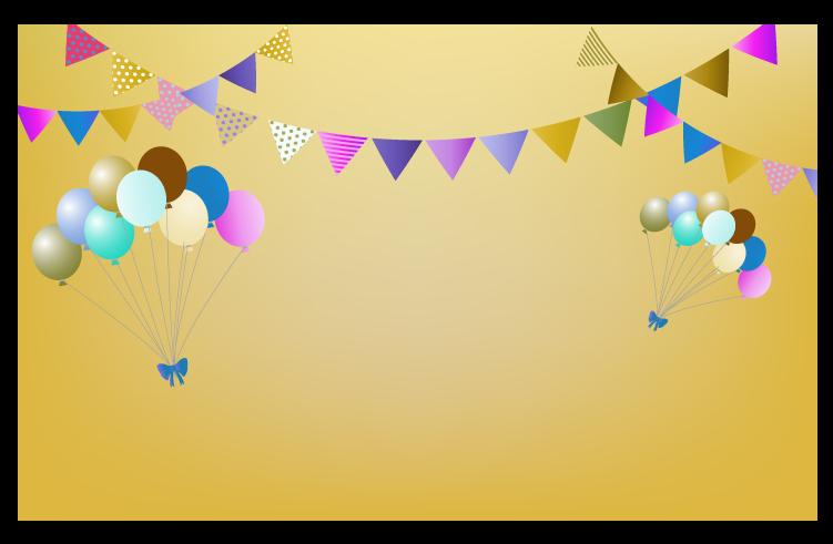 茶色の風船と旗と空の背景のイラスト
