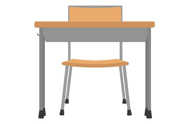 学校の机と椅子(正面)のイラスト
