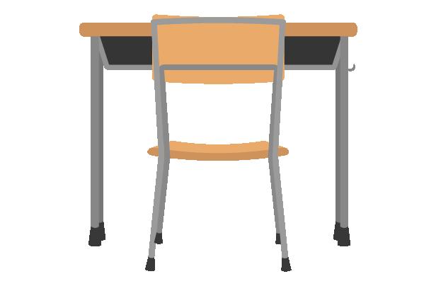 学校の机と椅子(背後)のイラスト