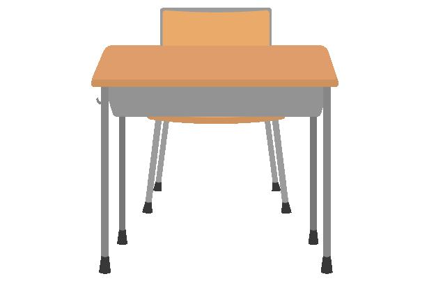 学校の机と椅子(ちょっと上から)のイラスト