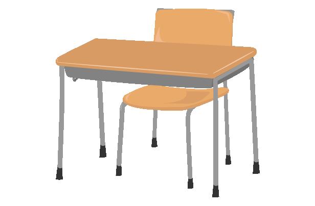 学校の机と椅子(斜め)のイラスト