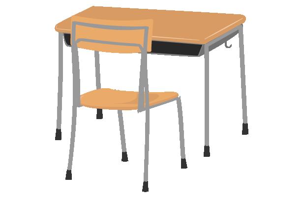 学校の机と椅子(斜め背後)のイラスト