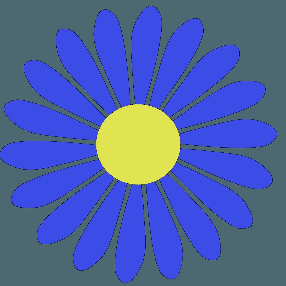 サファイアブルーのベクター風ガーベライラスト