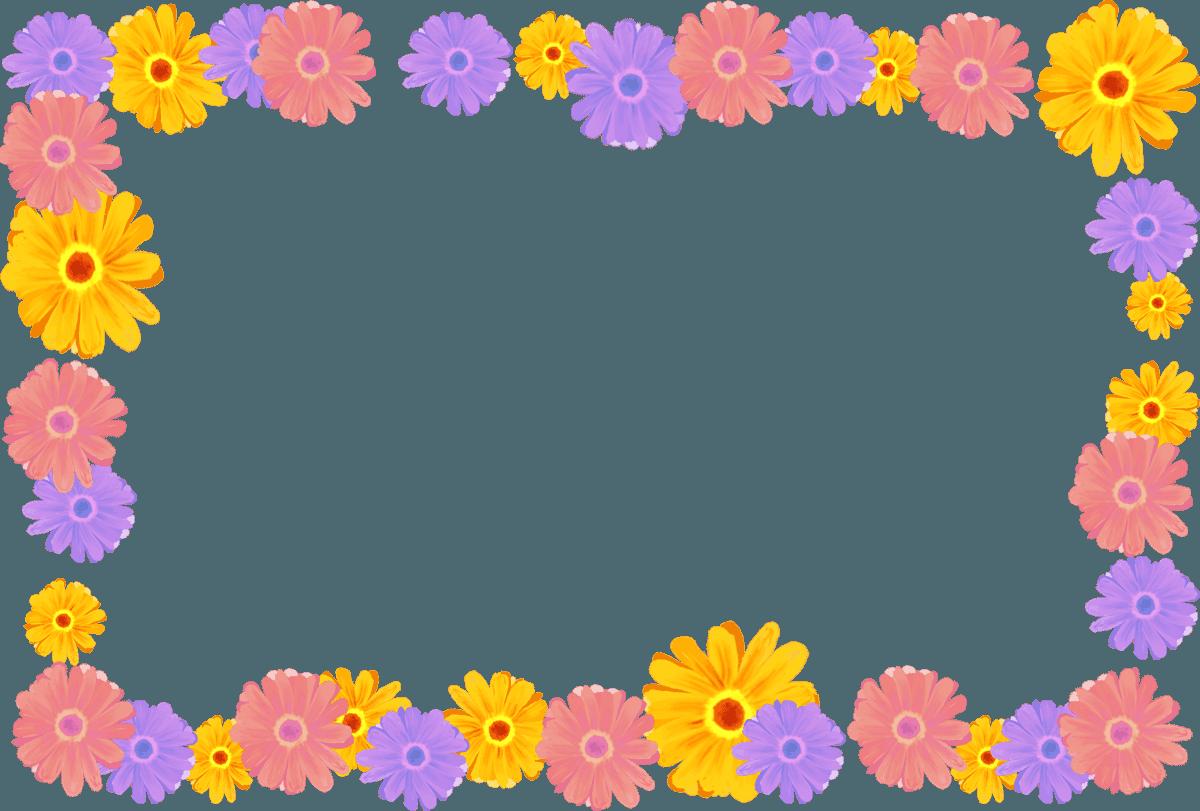 水彩のガーベラのフレームイラスト素材