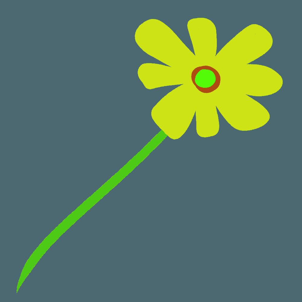 黄色いガーベラの花と茎イラスト