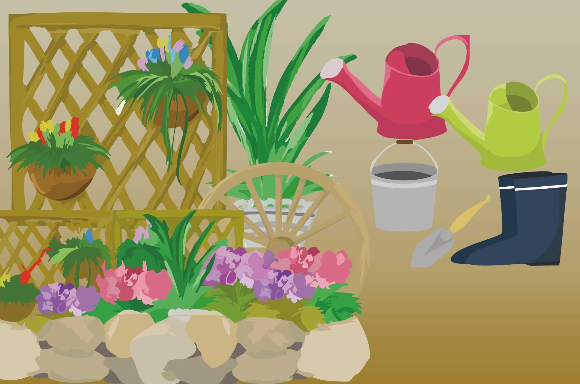 ガーデニングのイラスト癒される緑の花と自然の素材集