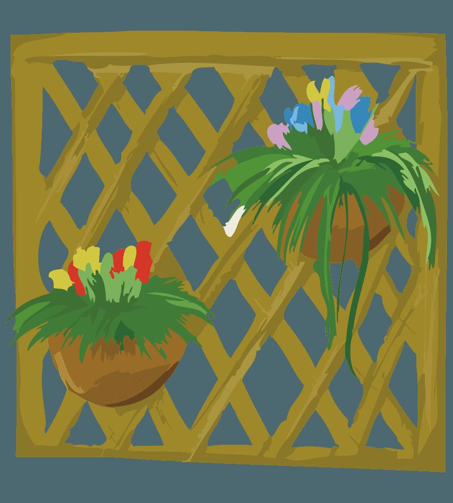 ガーデニング用のフェンスと花のイラスト