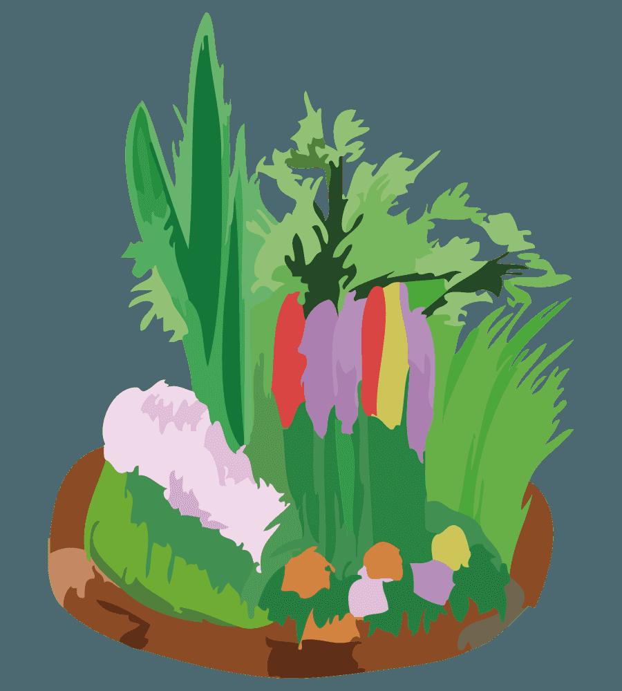 レンガの花壇と緑のイラスト