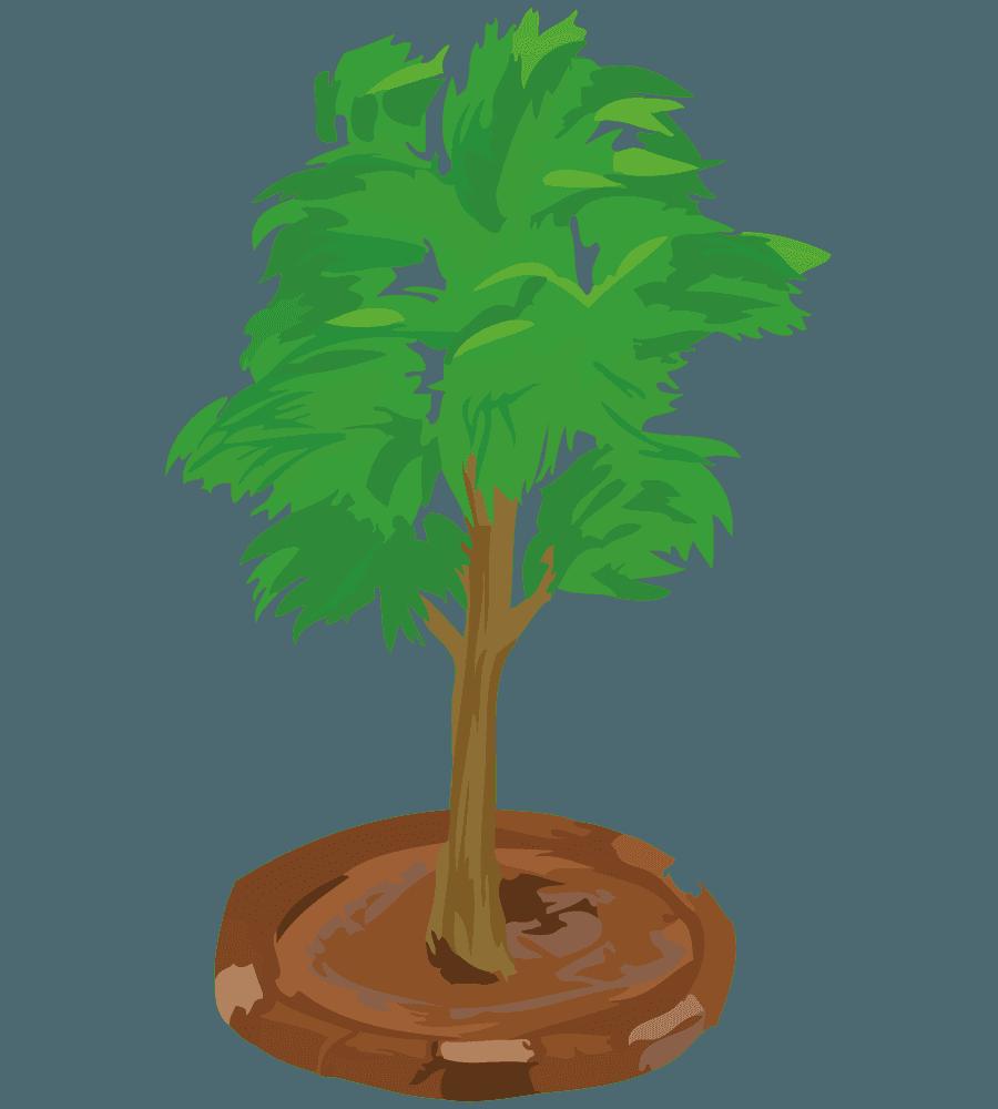 レンガの花壇と小さな木のイラスト