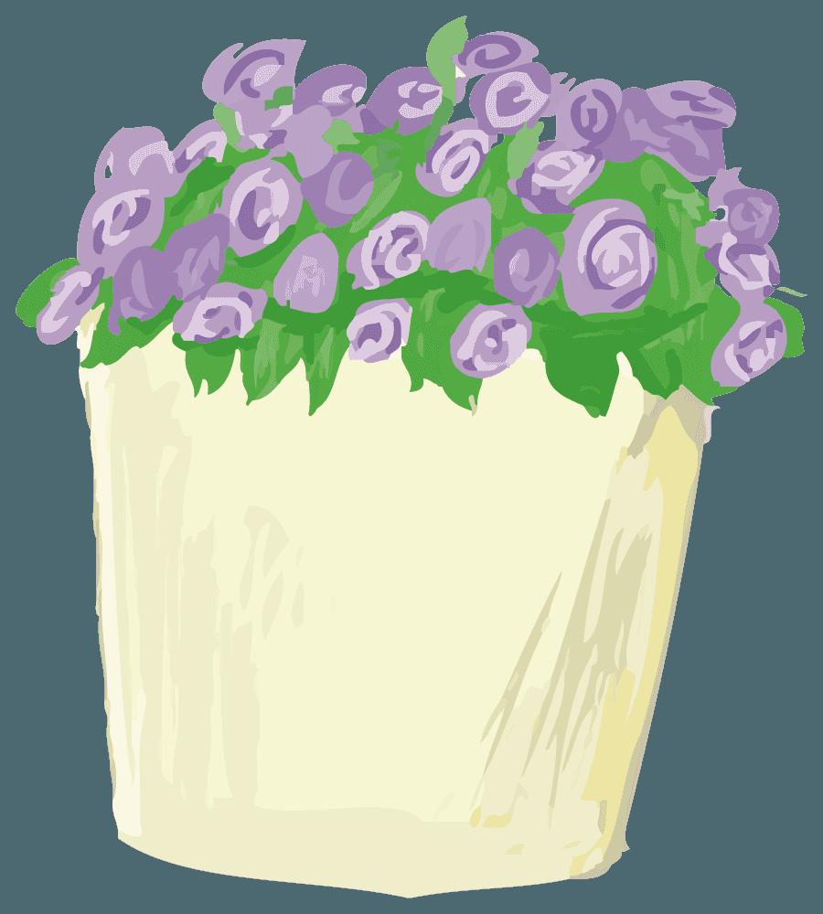 アートなお花と鉢植えのイラスト