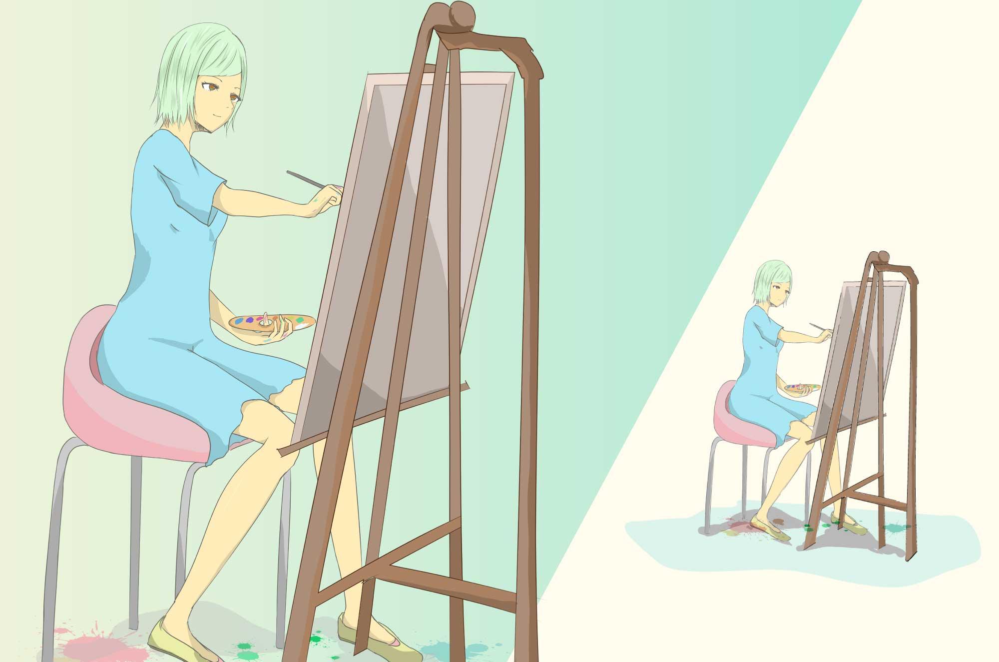 画家のフリーイラスト - 絵描きの職業キャラクター