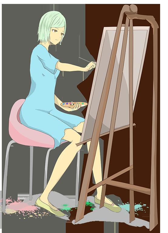絵を描く画家のイラスト