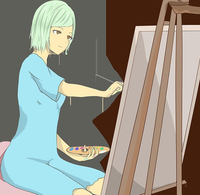 画家のイラストイメージ挿絵