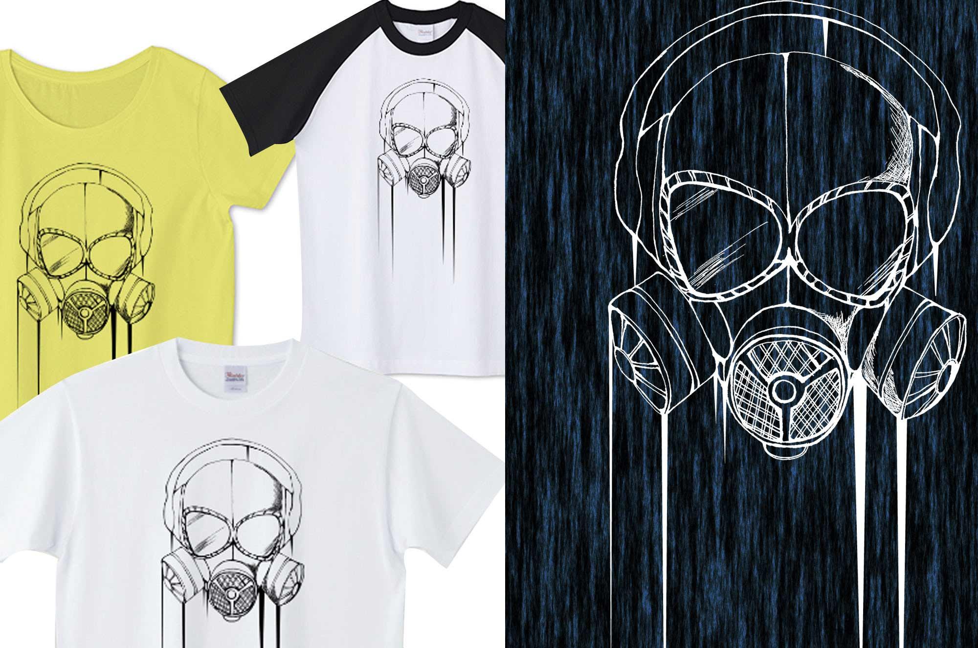 ガスマスクミリタリーTシャツ - 手書きデザイン