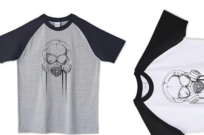 ラグランミリタリーガスマスクTシャツ