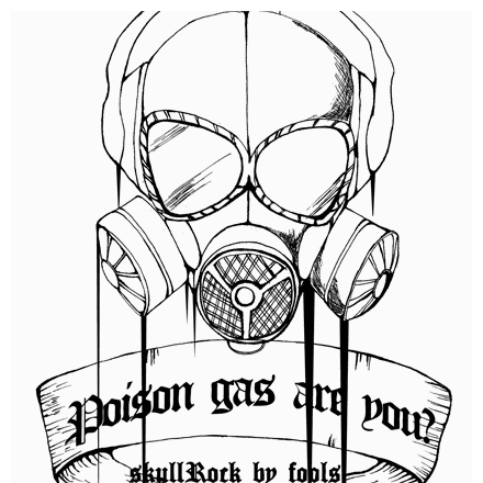 手描きのガスマスクロックTシャツシリーズ★Gペン画のクールなデザインTシャツ