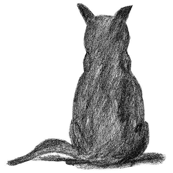 猫後ろ手書きデザイン