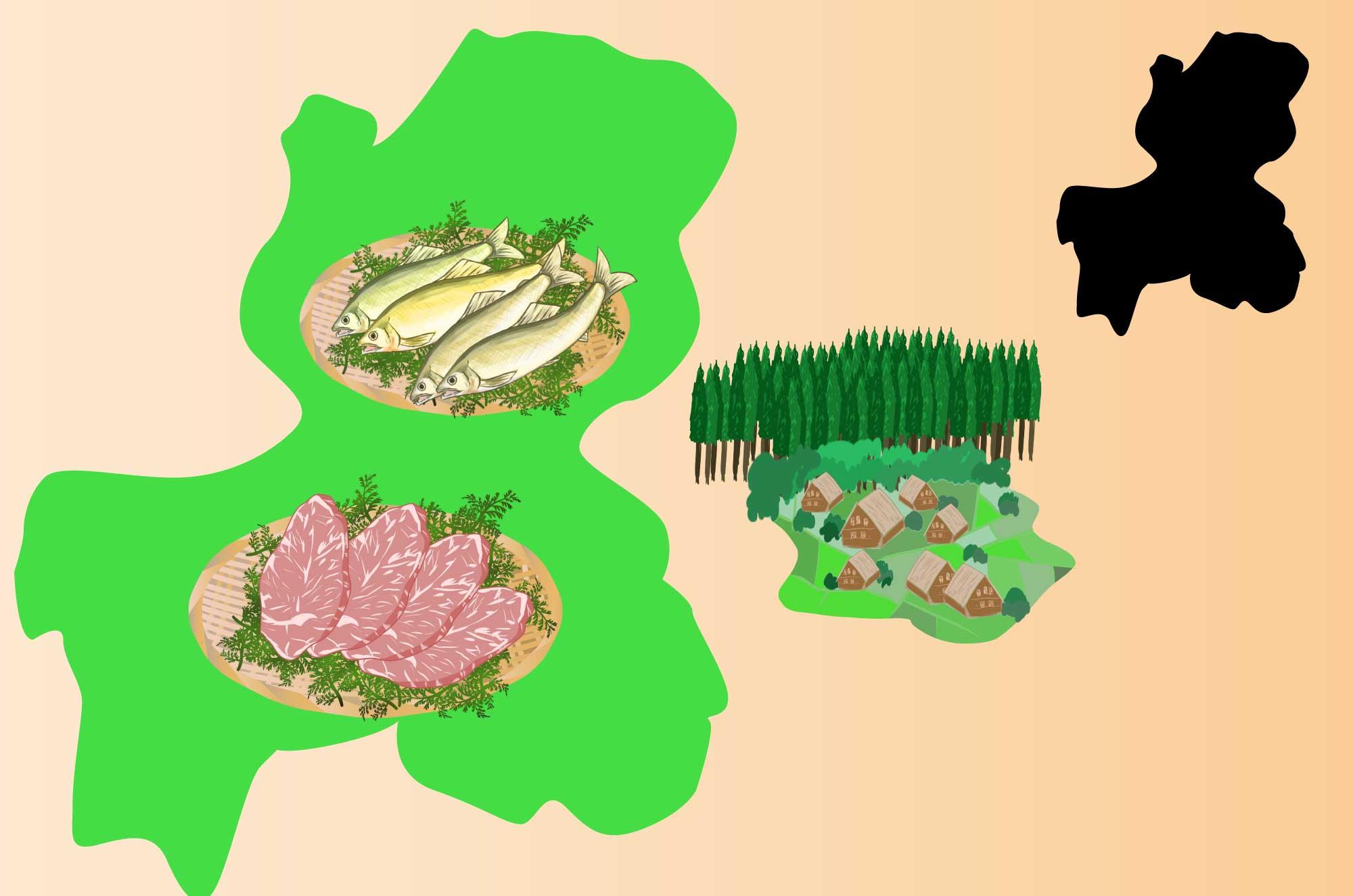 岐阜の無料イラスト - 白川郷・飛騨牛など名産の素材