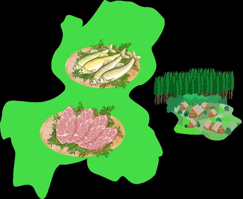 白川郷・飛騨・鮎と岐阜の地図のイラスト