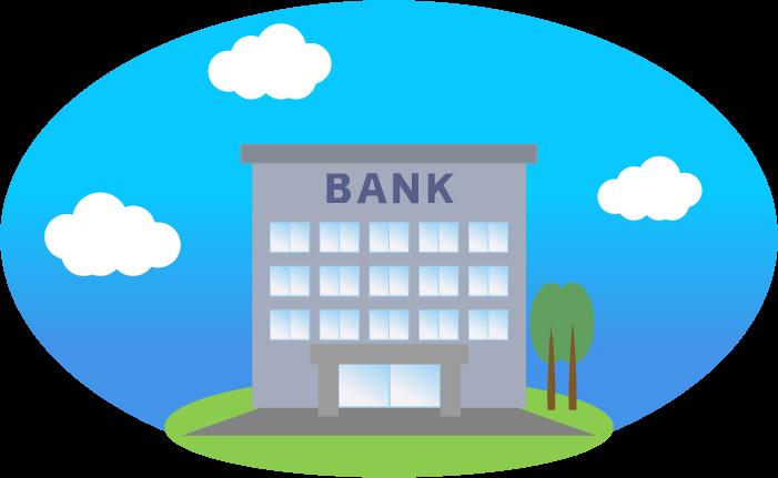 銀行のイラスト(背景あり)