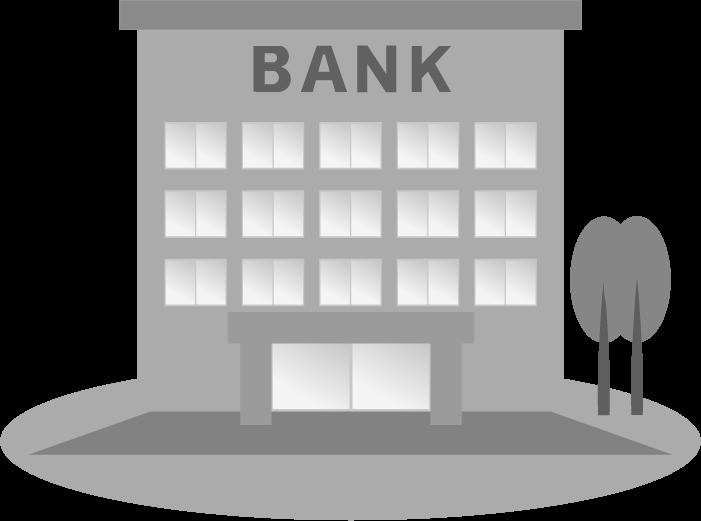 銀行の白黒イラスト