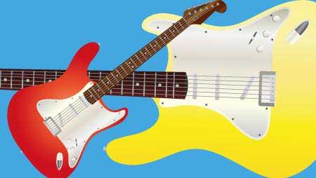 ギターのイラスト - アコギ・エレキ系ロックな無料素材