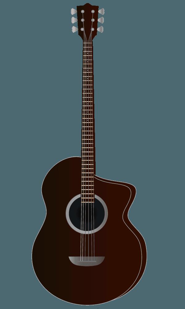 茶色いアコースティックギターのイラスト
