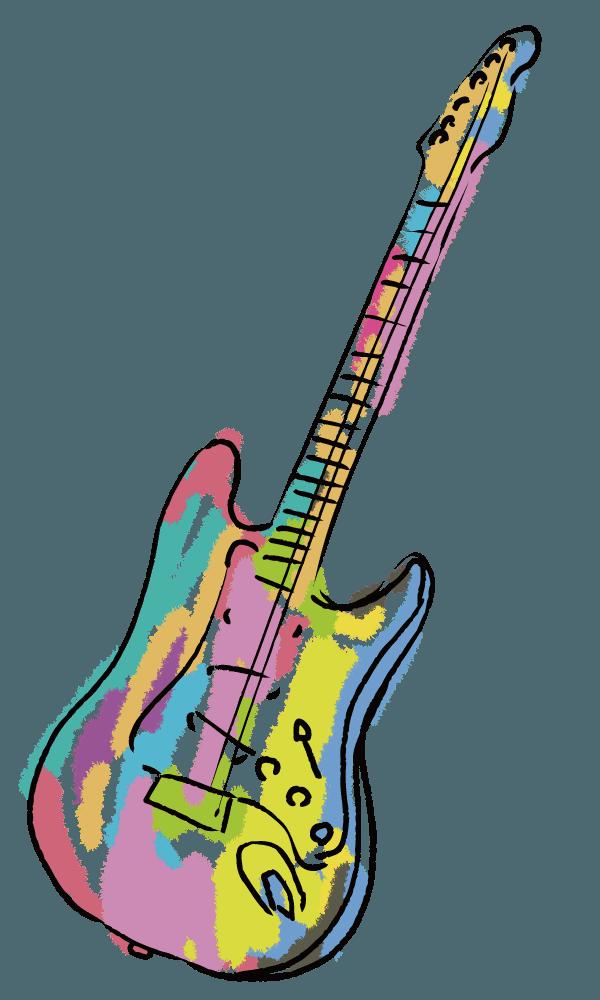 カラフルアートで可愛い夢ギターのイラスト