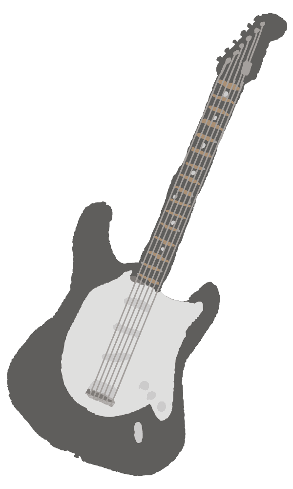 クレヨン風のラフなギターのイラスト