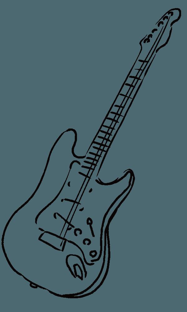 ボールペンギターの線画