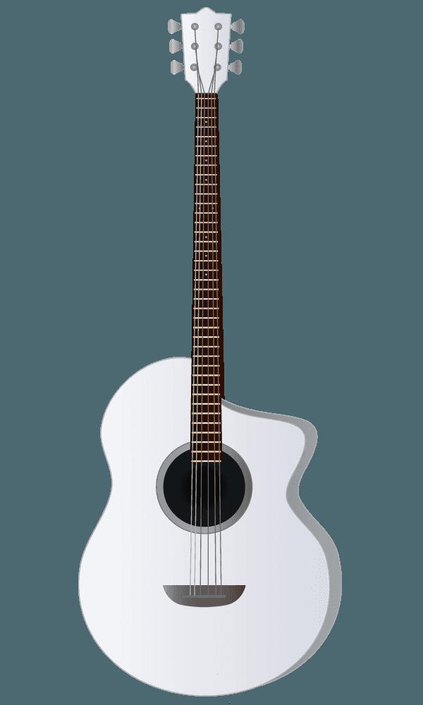 白いアコースティックギターのイラスト