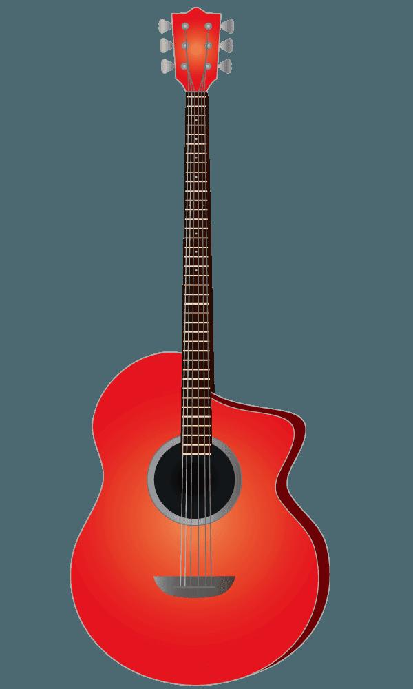 赤色のアコースティックギターのイラスト