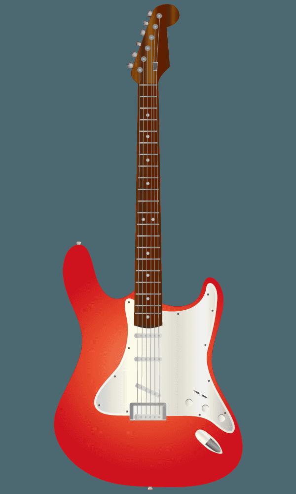 真っ赤なエレキギターのイラスト
