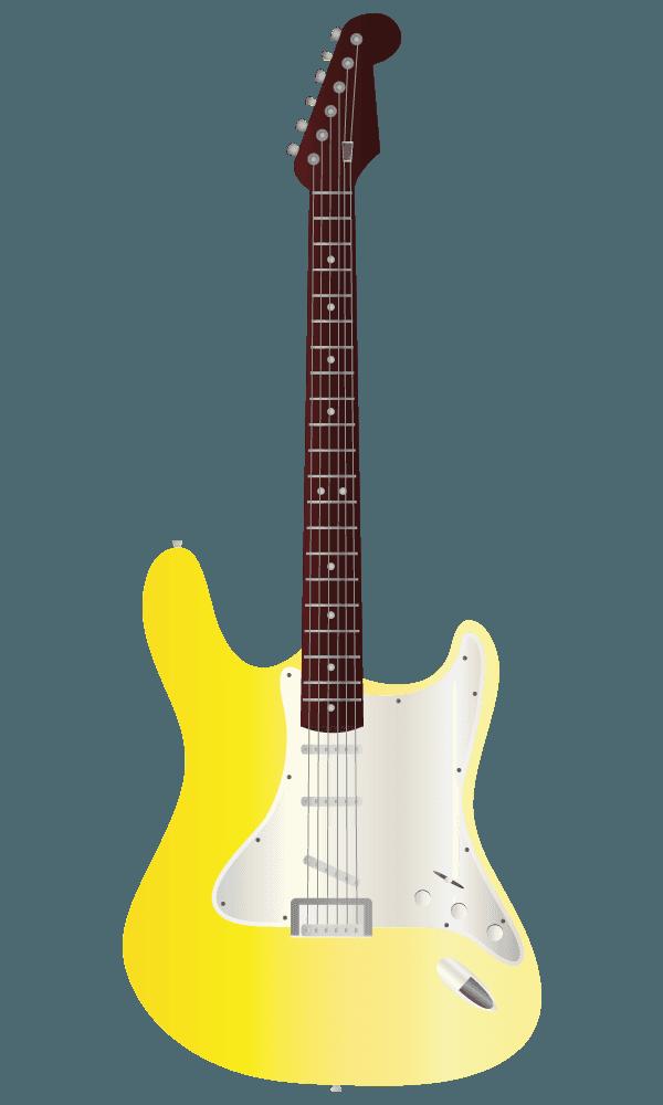 黄色いエレキギターのイラスト