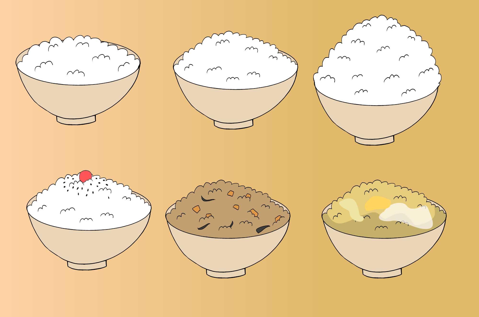 ほかほかご飯の無料イラスト 和食の食べ物素材 チコデザ