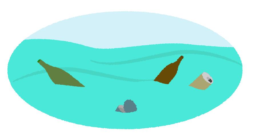海を汚染するゴミのイラスト