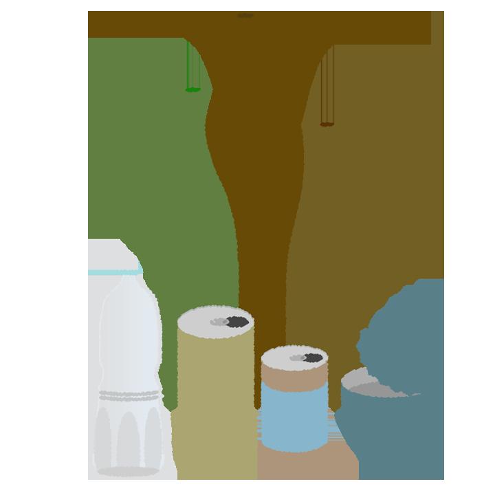 缶・ビン・ペットのゴミのイラスト