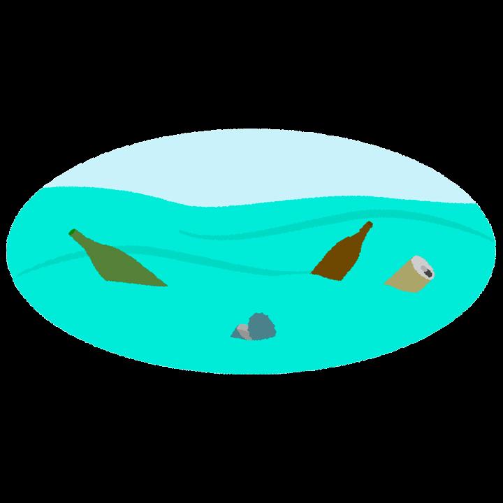 海の汚染とゴミのイラスト